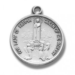 """Sterling Silver Round Our Lady of Fatima w/18"""" Chain - Boxed"""