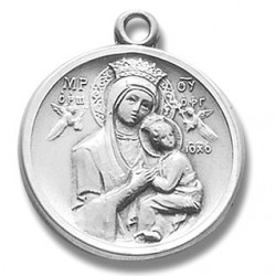 """Sterling Silver Round Our Lady of Perpetual Help w/18"""" Chain - Boxed"""