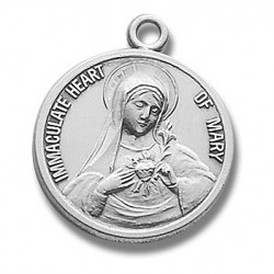 """Sterling Silver Round Immaculate Heart of Mary w/18"""" Chain - Boxed"""