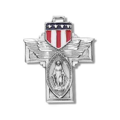 """Sterling Silver Military Miraculous with Epoxy Shield w/24"""" Chain - Boxed"""