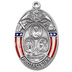 """Sterling Silver Oval Military 3 Way with Epoxy Borders w/24"""" Chain - Boxed"""
