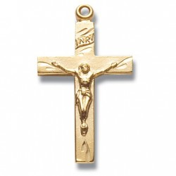 "14K Gold Over Sterling Silver Small Crucifix w/18"" Chain - Boxed"