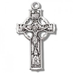"Sterling Silver Small Celtic Crucifix w/18"" Chain - Boxed"