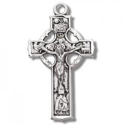 "Sterling Silver Small Celtic Crucifix w/18"" Chain - Boxed"
