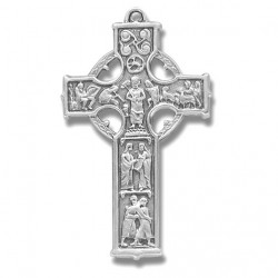 """Sterling Silver Large Celtic Cross w/24"""" Chain - Boxed"""