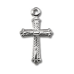 "Sterling Silver Tiny Cross w/16"" Chain - Boxed"