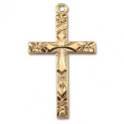 "Gold Over Sterling Silver Flowered Tip Cross w/18"" Chain - Boxed"