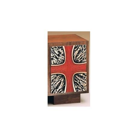 Tabernacle - Red Cross Bas Relief Bronze Walnut Combination