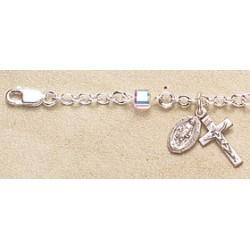 4mm Crystal Cube Swarovski Sterling Silver Rosary Bracelet - Boxed