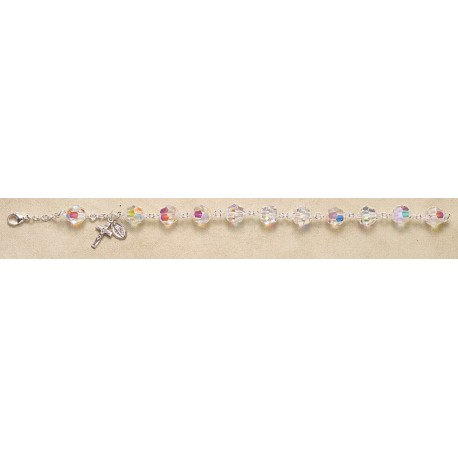 10mm Swarovski Crystal Sterling Silver Rosary Bracelet - Boxed