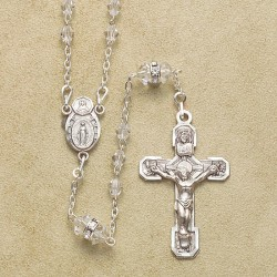 4mm Crystal Rosary with Sterling Crucifix & Center - Boxed