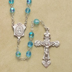 6mm Tin Cut Aqua Rosary with Sterling Silver Crucifix & Center - Boxed