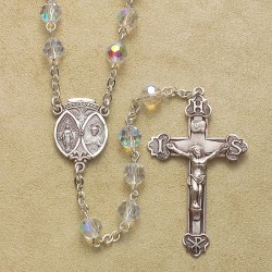 6mm Tin Cut Crystal Rosary with Sterling Silver Crucifix & Center - Boxed