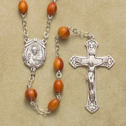 5x7 Rosewood Rosary with Sterling Crucifix & Center - Boxed