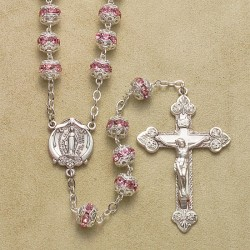 7mm Light Rose Fancy Cap Rosary with Sterling Silver Crucifix & Center - Boxed