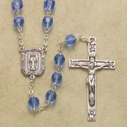 6mm Cube Light Sapphire Rosary with Sterling Silver Crucifix & Center - Boxed