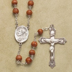 6mm Carved Round Brown Cocoa Rosary with Sterling Crucifix & Center - Boxed