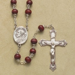 6mm Carved Round Maroon Cocoa Rosary - Boxed