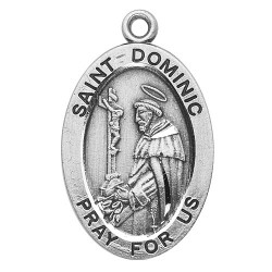 "St. Dominic Sterling Silver Oval w/20"" Chain - Boxed"
