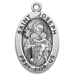 "St. Joseph Sterling Oval w/20"" Chain - Boxed"