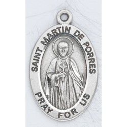 "St. Martin De Porres Sterling Silver Oval w/20"" Chain - Boxed"
