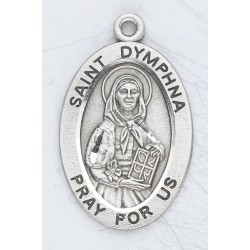 "St. Dymphna Sterling Silver Oval w/18"" Chain - Boxed"