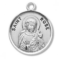 """St. Rose Sterling Silver Round w/18"""" Chain - Boxed"""