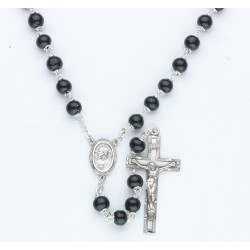 7mm Black Round Wood Rosary - Boxed