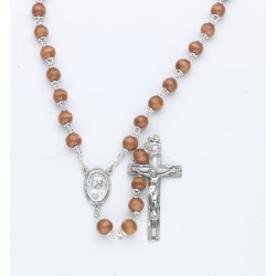7mm Brown Round Wood Rosary - Boxed