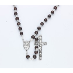 7mm Maroon Round Wood Rosary - Boxed