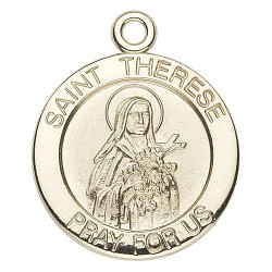 St. Therese 14K Small Round w/14K Jump Ring - Boxed