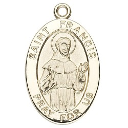 St. Francis 14K Oval w/14K Jump Ring - Boxed