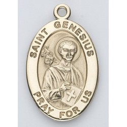 St. Genesius 14K Oval w/14K Jump Ring - Boxed