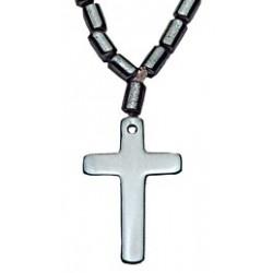 Beaded Hematite Cross Necklace
