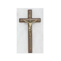"8"" Walnut Crucifix w/Black & Gold Overlay"