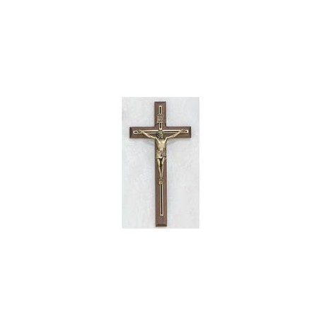 "8"" Walnut Crucifix w/Black & Gold Overlay"