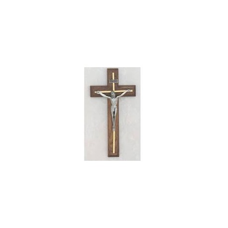 "10"" Walnut Crucifix w/Silver Overlay"