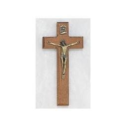 """7"""" Oak Crucifix w/Gold Corpus"""
