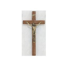 "10"" Walnut Crucifix w/Gold Corpus"