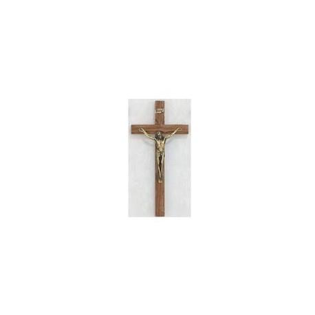 "10"" Walnut Crucifix w/Gold Corpus"