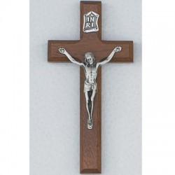 "6"" Walnut Crucifix w/Silver Corpus"