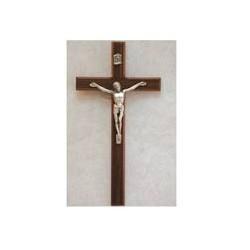 "10"" Walnut Crucifix w/Silver Corpus"
