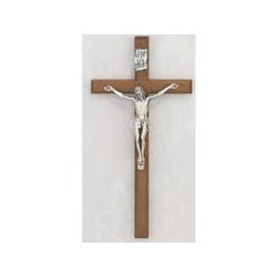 "12"" Walnut Crucifix w/Silver Corpus"