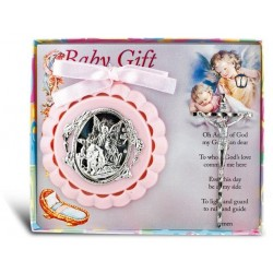 Guardian Angel Crib Medal and Crucifix - Girl