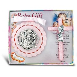 Guardian Angel Crib Medal and Pearlized Cross - Girl