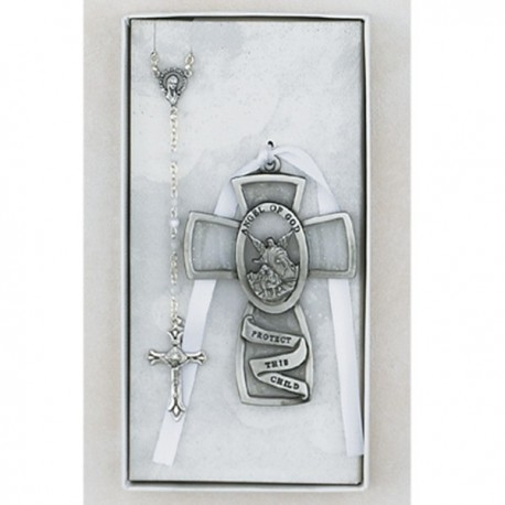 Guardian Angel Cross and Rosary Set