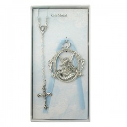 Guardian Angel Crib Medal and Rosary Set