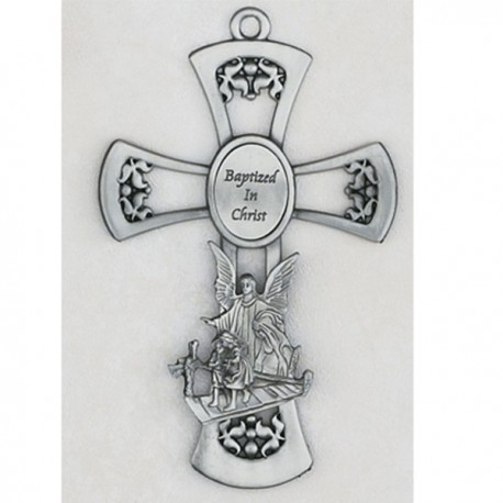 Pewter Guardian Angel Cross
