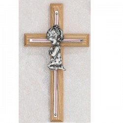 Girl Praying Oak Cross