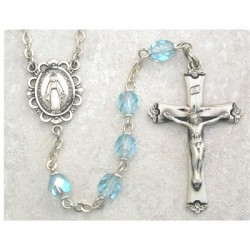 6mm Sterling Silver Aqua/March Rosary